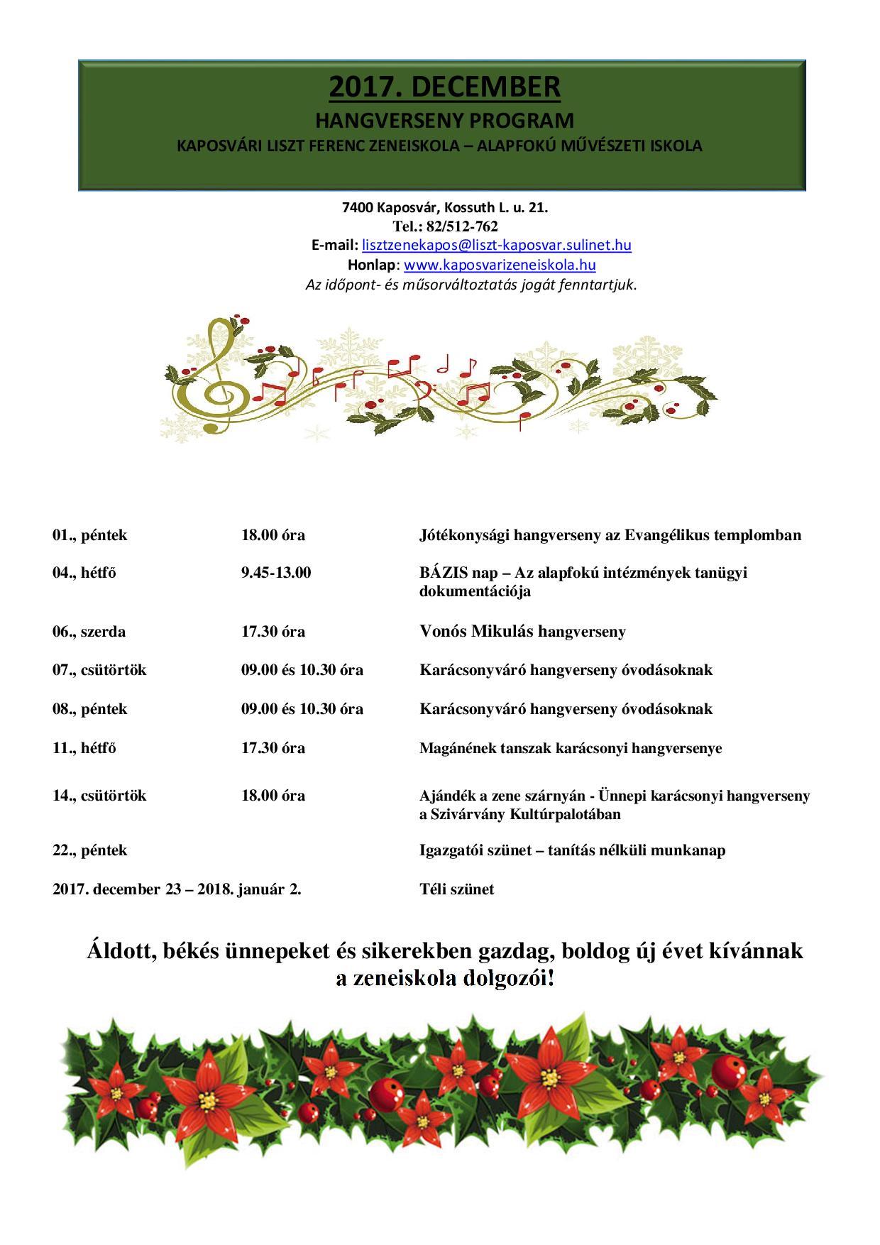 2017. december havi program