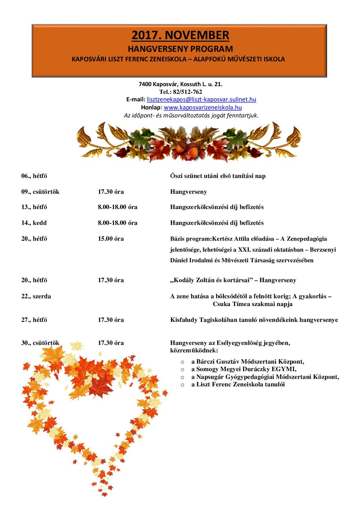 2017. november havi programok