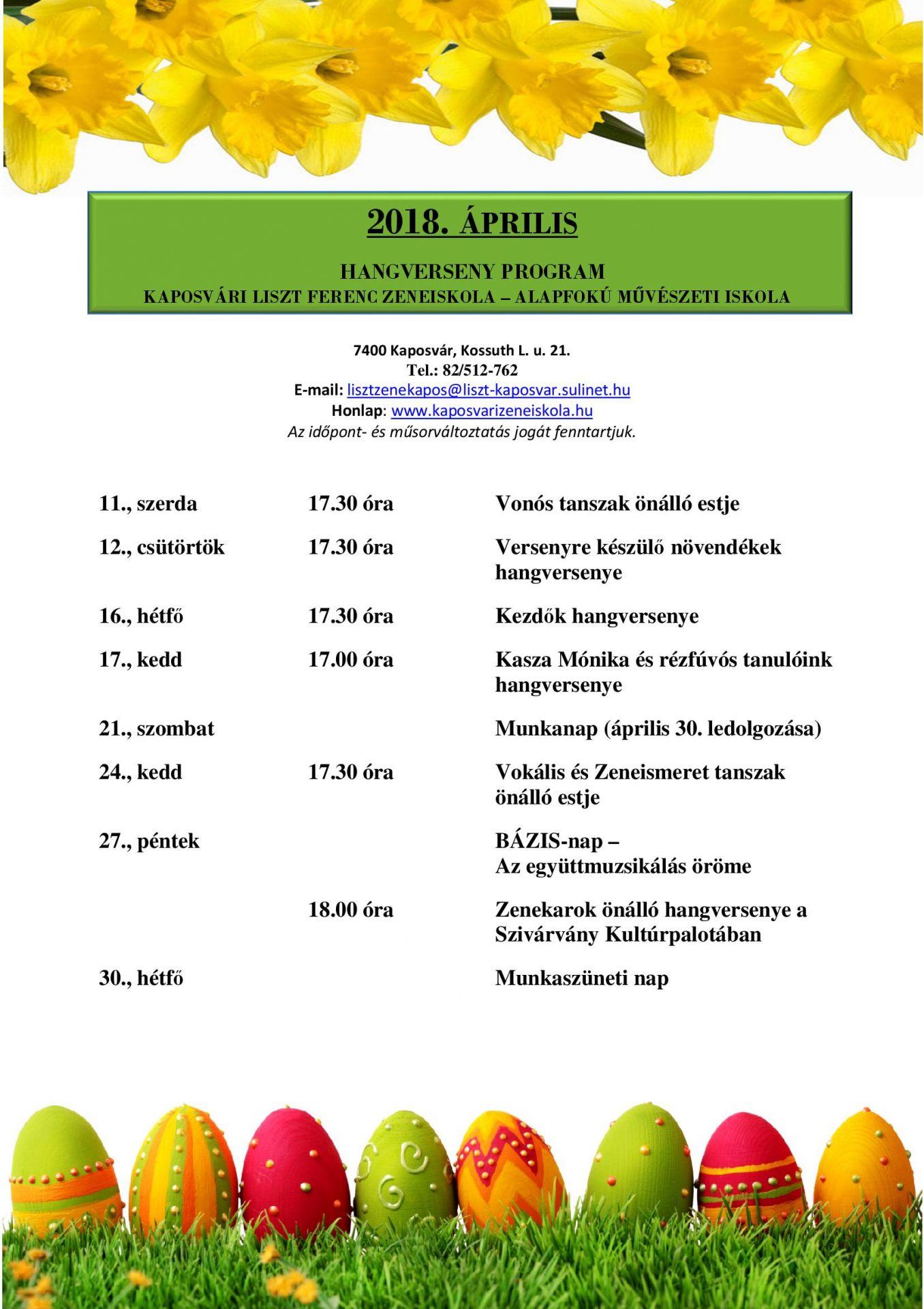 2018. április havi programok