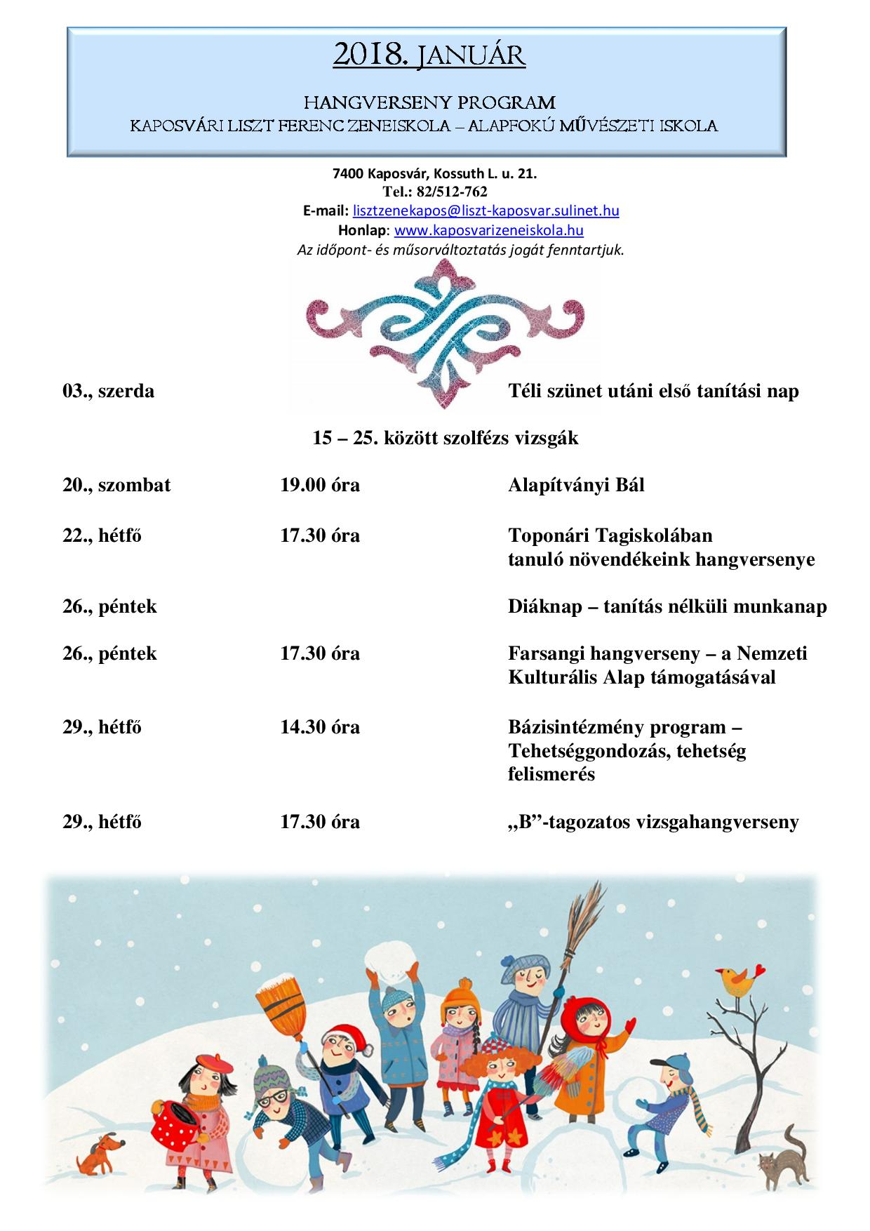 2018. január havi program